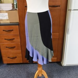 Yves Saint Laurent F38 tri color skirt with ruffle